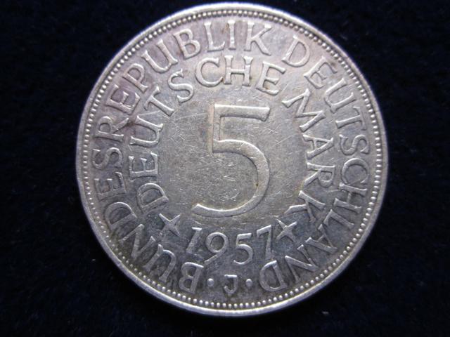 5 Dm Silberadler 1957 J Die 5 Dm Silberadler Münze
