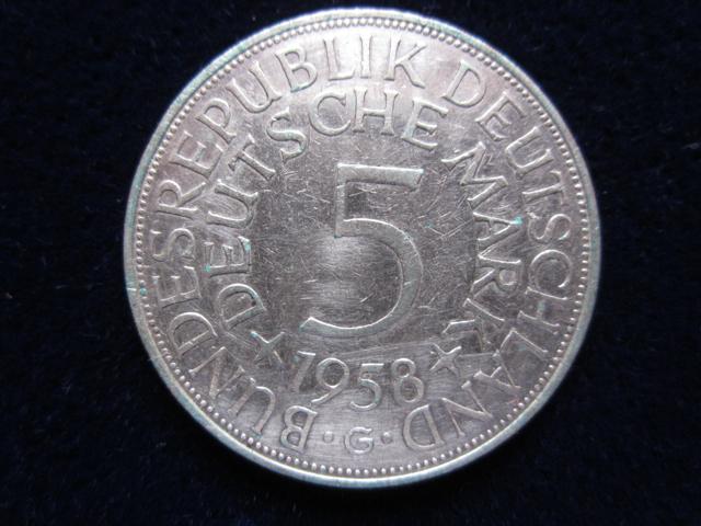 Die 5 Dm Silberadler Münze Kategorie 1958