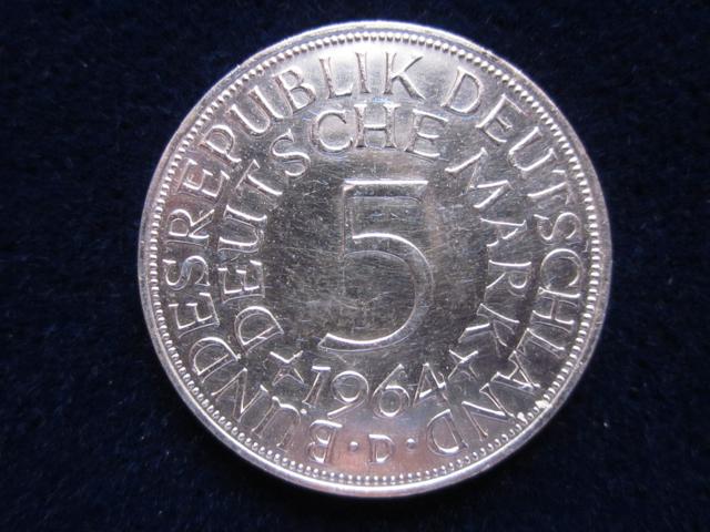 5 Dm Silberadler 1964 D Die 5 Dm Silberadler Münze