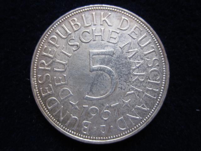 5 Dm Silberadler 1967 J Die 5 Dm Silberadler Münze